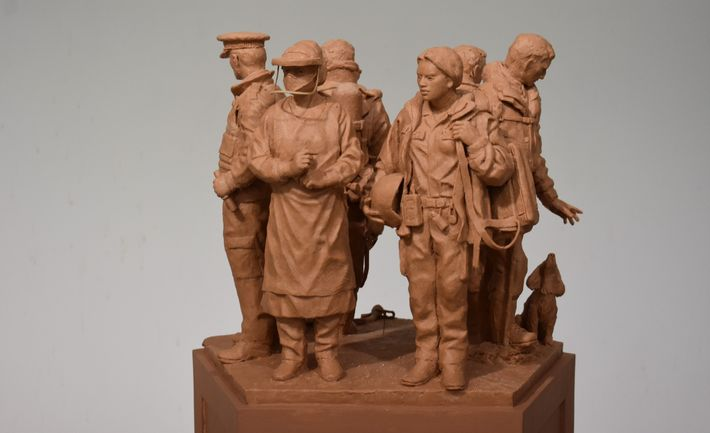 The design for the National Emergency Services Memorial. Shown here from the 'health' side, it depicts ...
