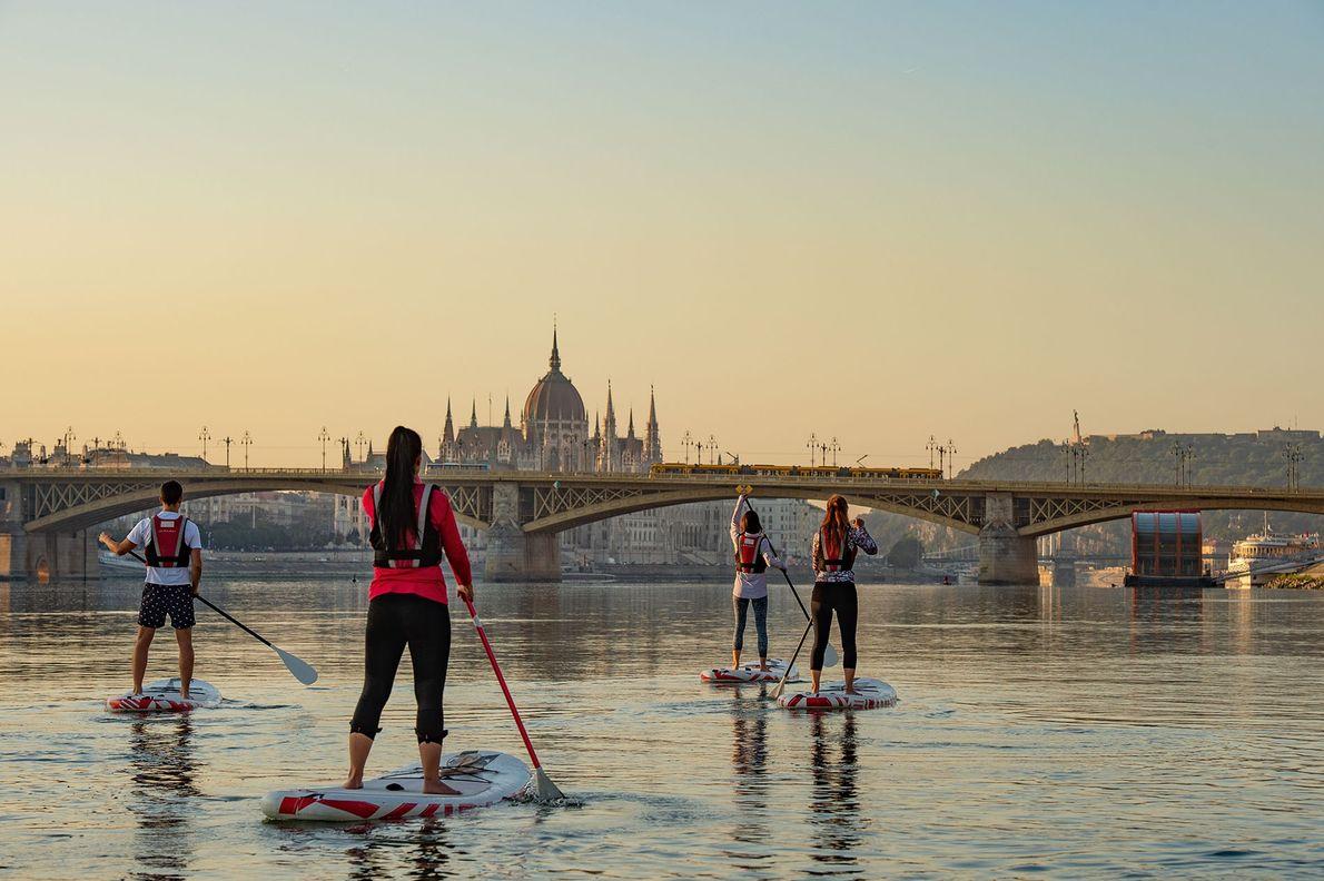 Paddleboarding on the Danube