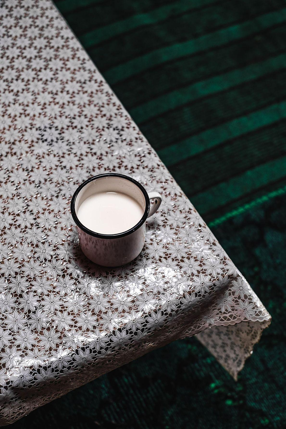 A glass of fresh mare milk.