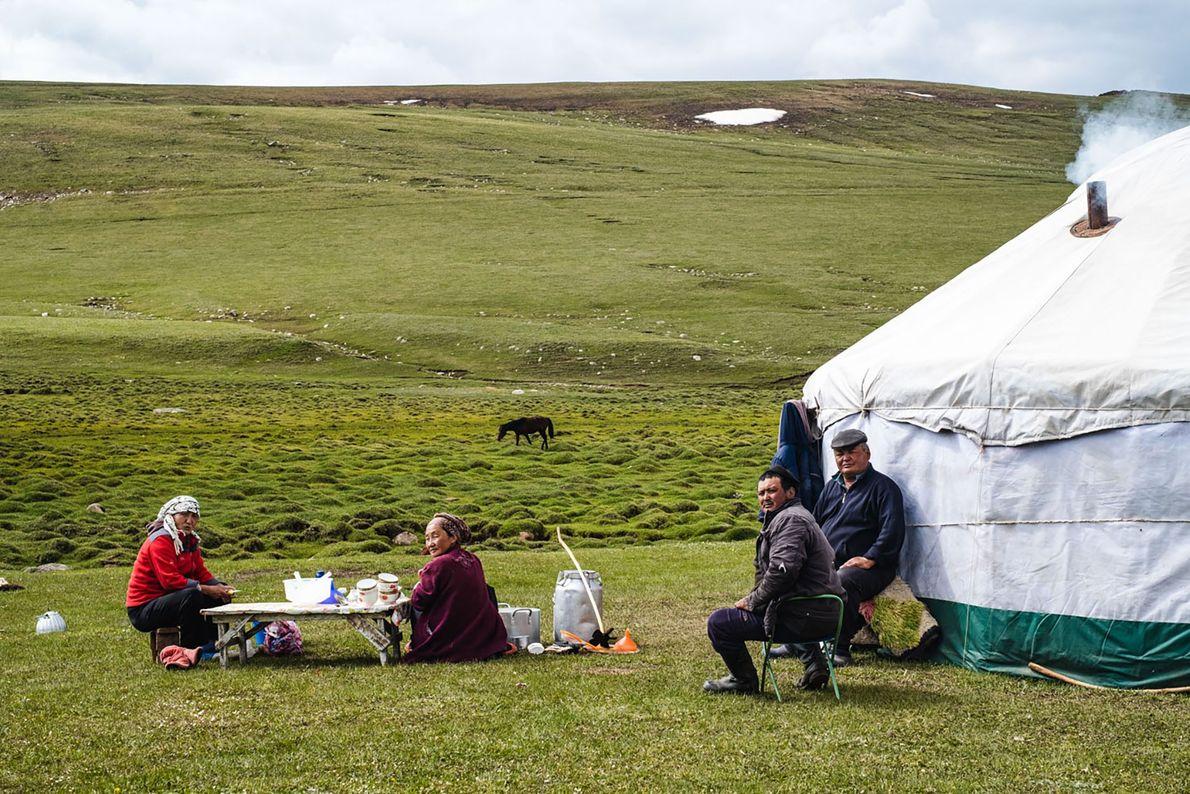 Daily life in a yurt camp near Song Köl Lake.