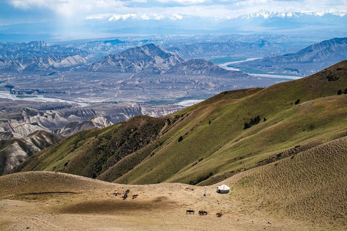 A small yurt camp near Kara Koo pass, on the road between Ak-Tal and Kazarman.