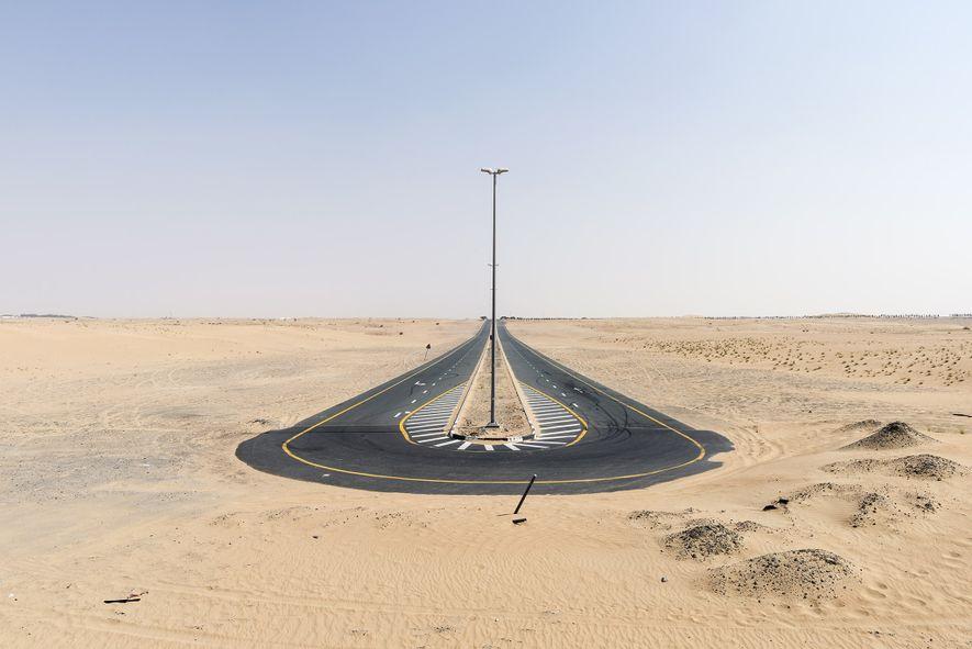A dead-end road in Al Qudra desert re-routes drivers.