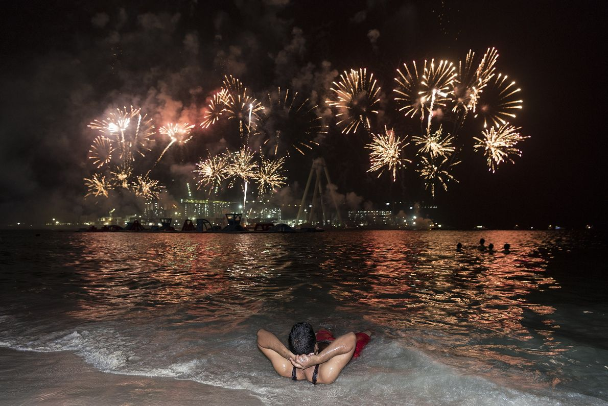 Fireworks illuminate the artificial Bluewaters Island during a celebration of Eid Al-Adha.
