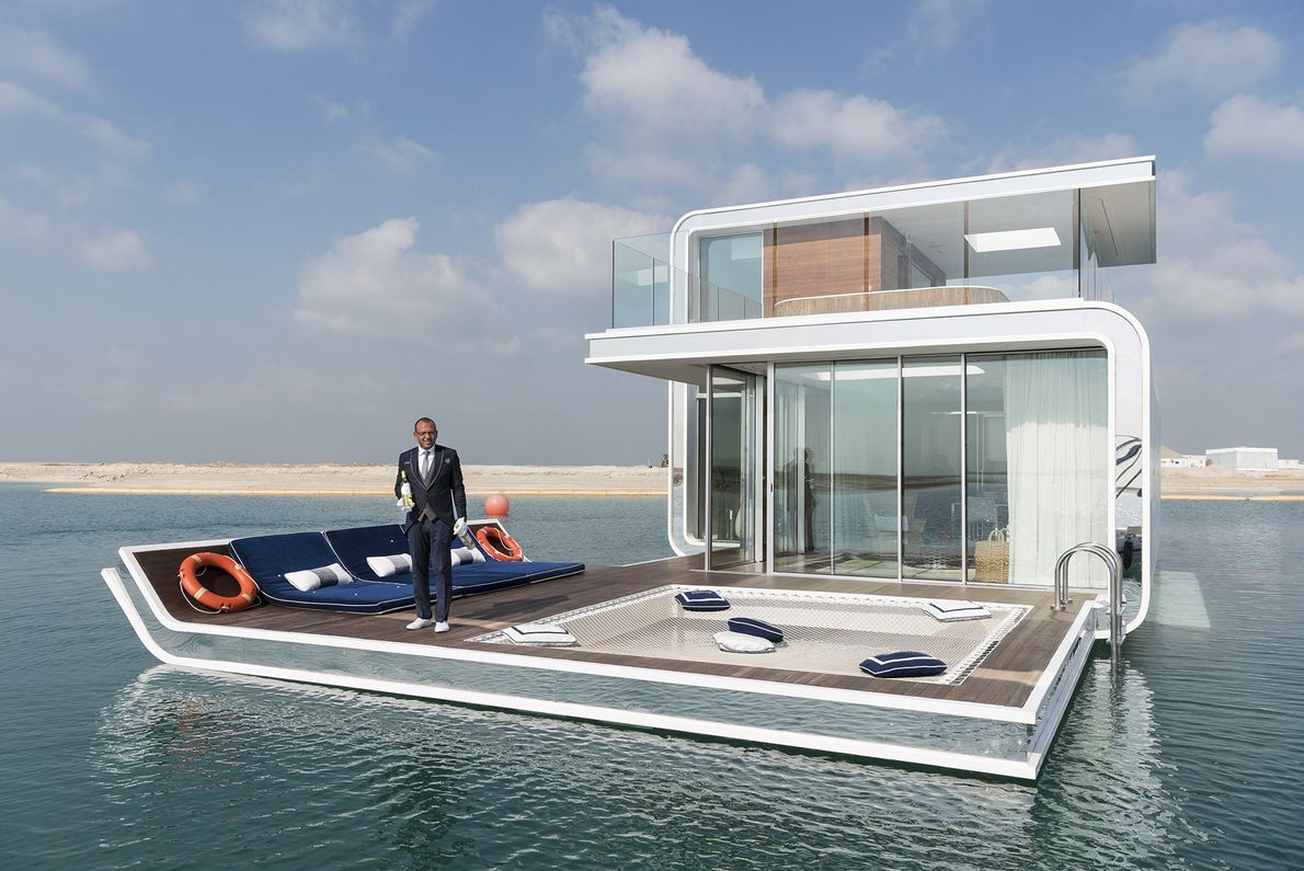 A prototype of the Floating Seahorse, a luxury underwater villa, juts out of the World, a ...