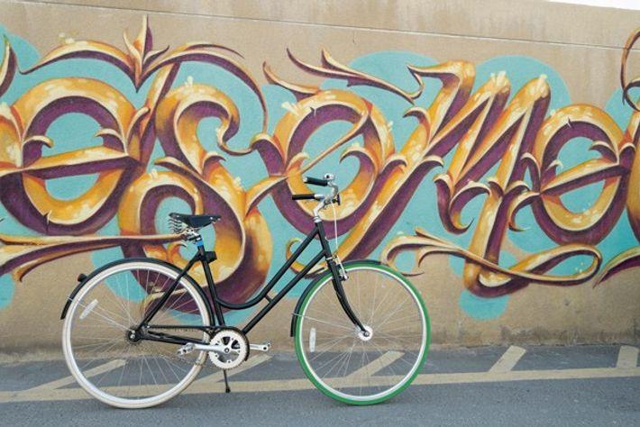 Bicycle and graffiti at Alserkal Avenue art district in Al Quoz, Dubai
