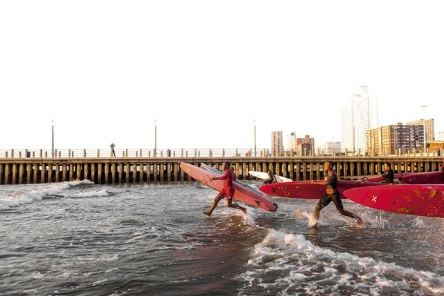 Lifeguards training along Durban's busy shores. Image: Teagan Cunniffe