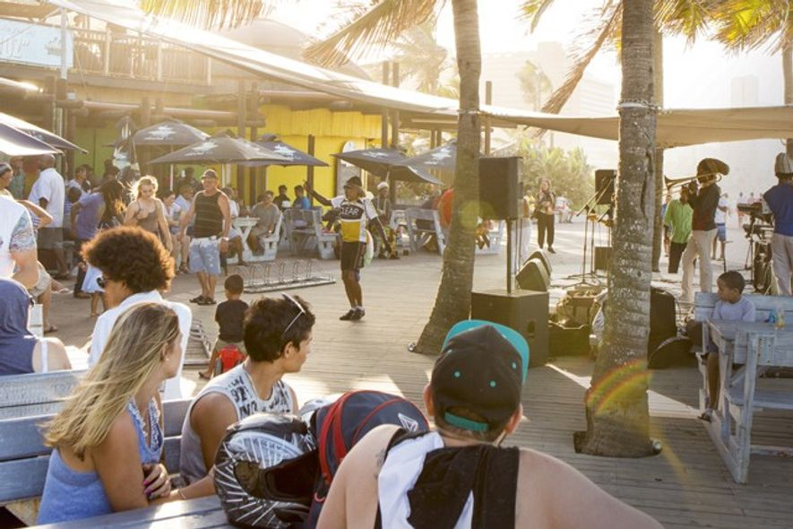 A brightly coloured beach bar next to uShaka Marine World. Image: Teagan Cunniffe