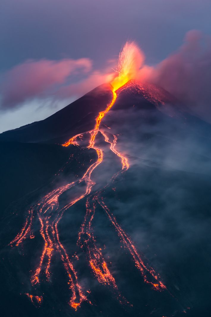 Mount Etna in eruption. When the Sicilian volcano erupted in 2002, a crew from Revenge of ...
