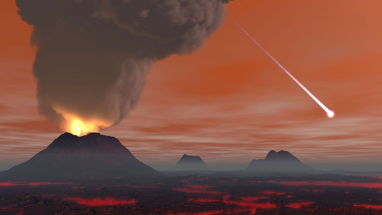 Scientists and artists often envision Earth's earliest years as a hellscape, dominated by volcanoes and lava ...