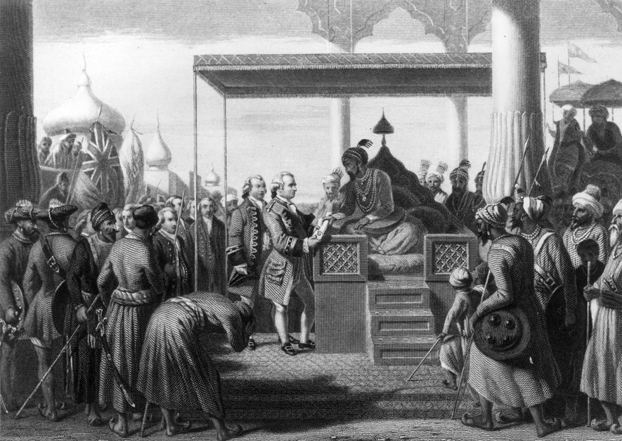 Mughal emperor Shah Alam II grants Robert Clive, leader of the East India Company's army, the ...