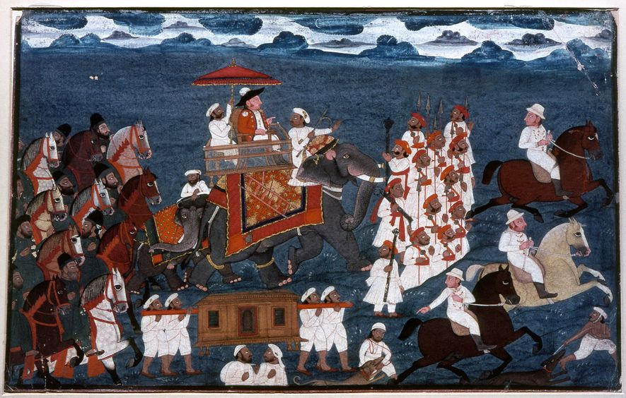 A painting of aBritish East India Company official riding on an elephant at the end of ...