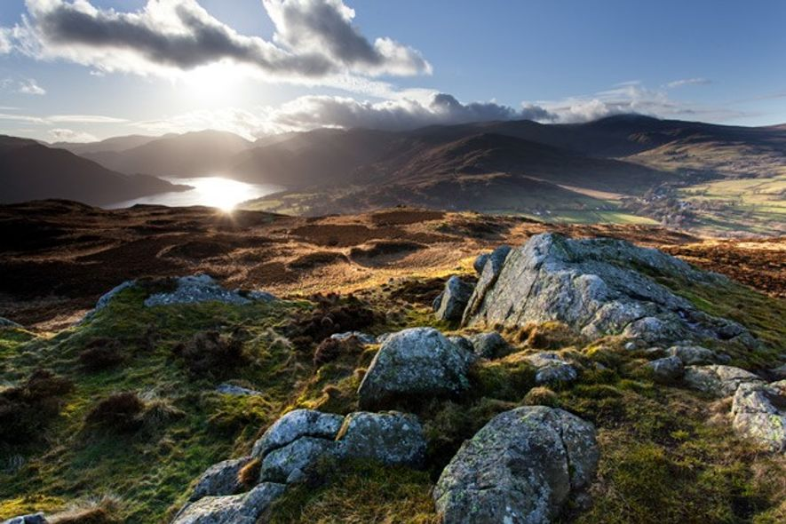 Evening light on the Ullswater Fells in the Lake District.
