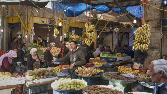 A fruit and vegetable stall at an old souk in Amman