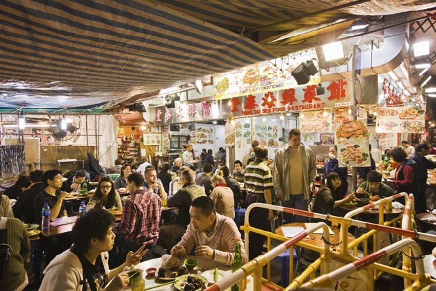 Temple Street Night Market in Kowloon.