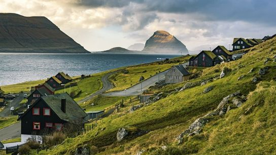 Traditional black tarred timber and grass roofs, Faroe Islands.