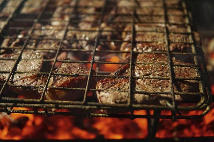 Meat on the braai at the Middelvei Wine Estate