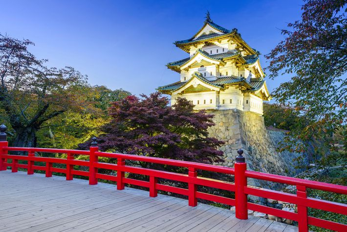 The famous Hirosaki Castle Park has been shaped over time by three castle moats, and is ...
