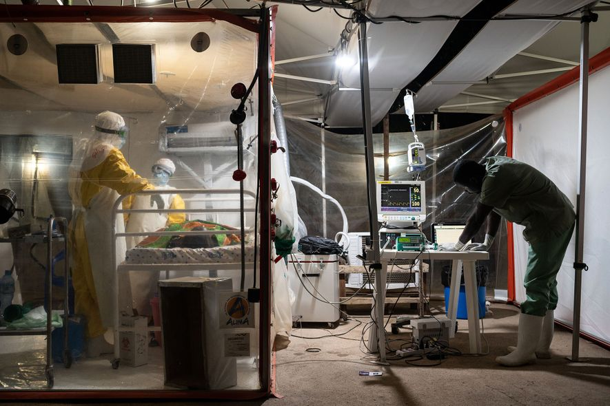 Kavugho Mukoni Romelie, 16, is treated for Ebola at the The Alliance for International Medical Action ...