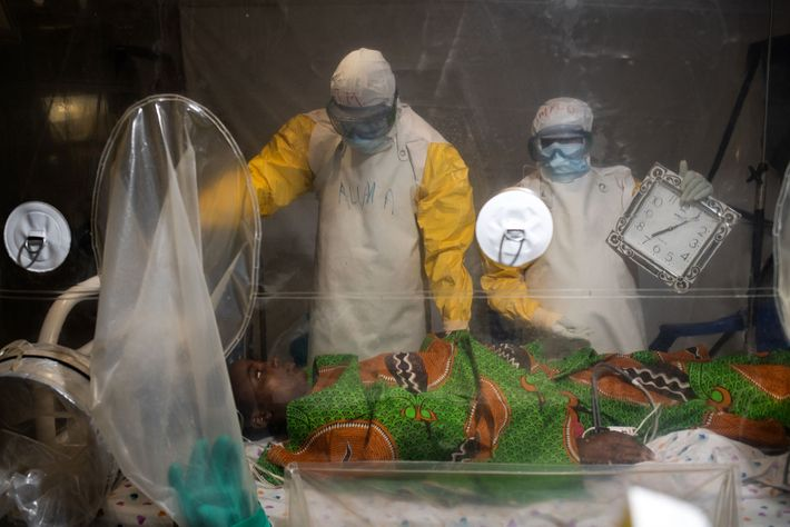 Kavugho Mukoni Romelie, 16, is treated for Ebola at the Alliance for International Medical Action centre ...