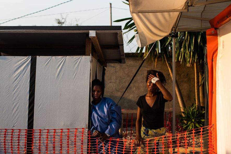 Kavugho Mukoni Romelie, 16, is treated for Ebola at the ALIMA centre in Beni. A friend ...