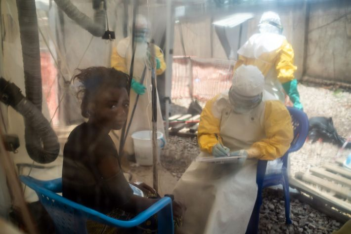 Sixteen-year-old Kavugho Mukoni Romelie is treated for Ebola at the Alliance for International Medical Action centre ...