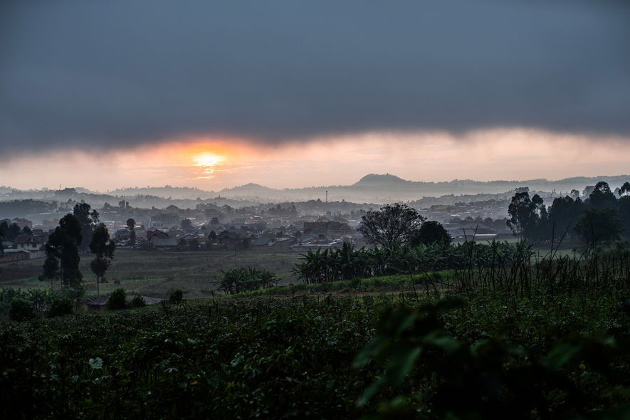Clouds hover over Butembo as seen from the site of an attacked Médecins Sans Frontières (MSF) ...