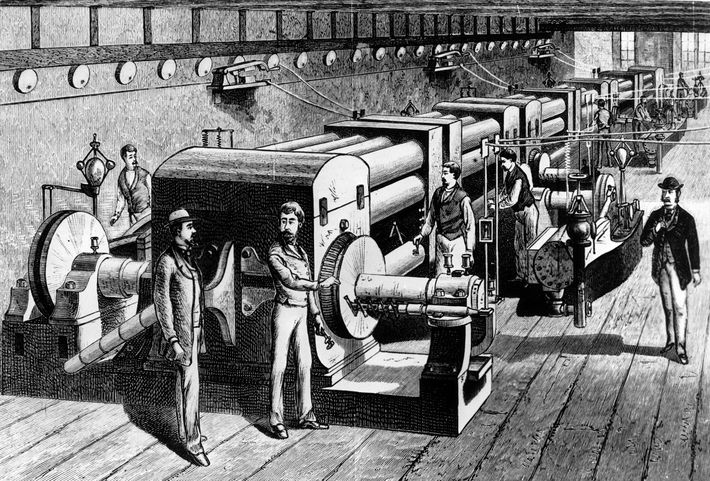 This woodcut shows one of the central power stations in New York built by the Edison ...