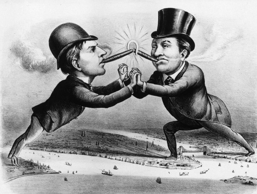 In this Currier & Ives print from the late 1800s, Edison (left) and Charles Brush, inventor ...