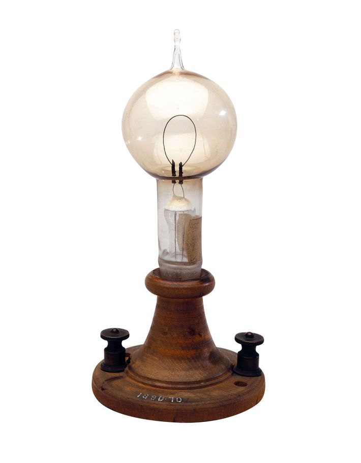 This bulb from 1879 contains a single carbon filament that glowed when current passed through it.