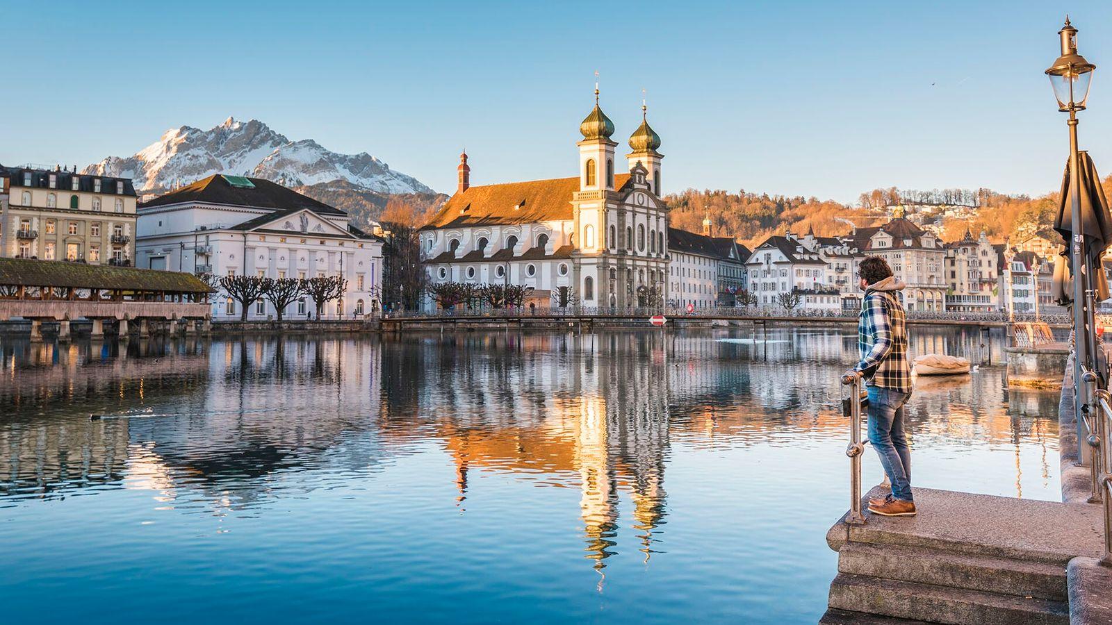 Lucerne has a beautiful medieval bridge, belle époque hotels and a piercingly blue central lake.