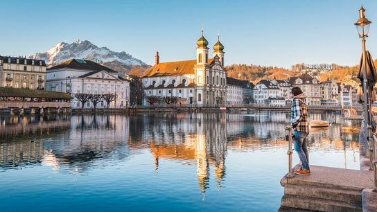 Lucerne has a beautiful medieval bridge, belle époque hotels and a piercingly blue central lake.