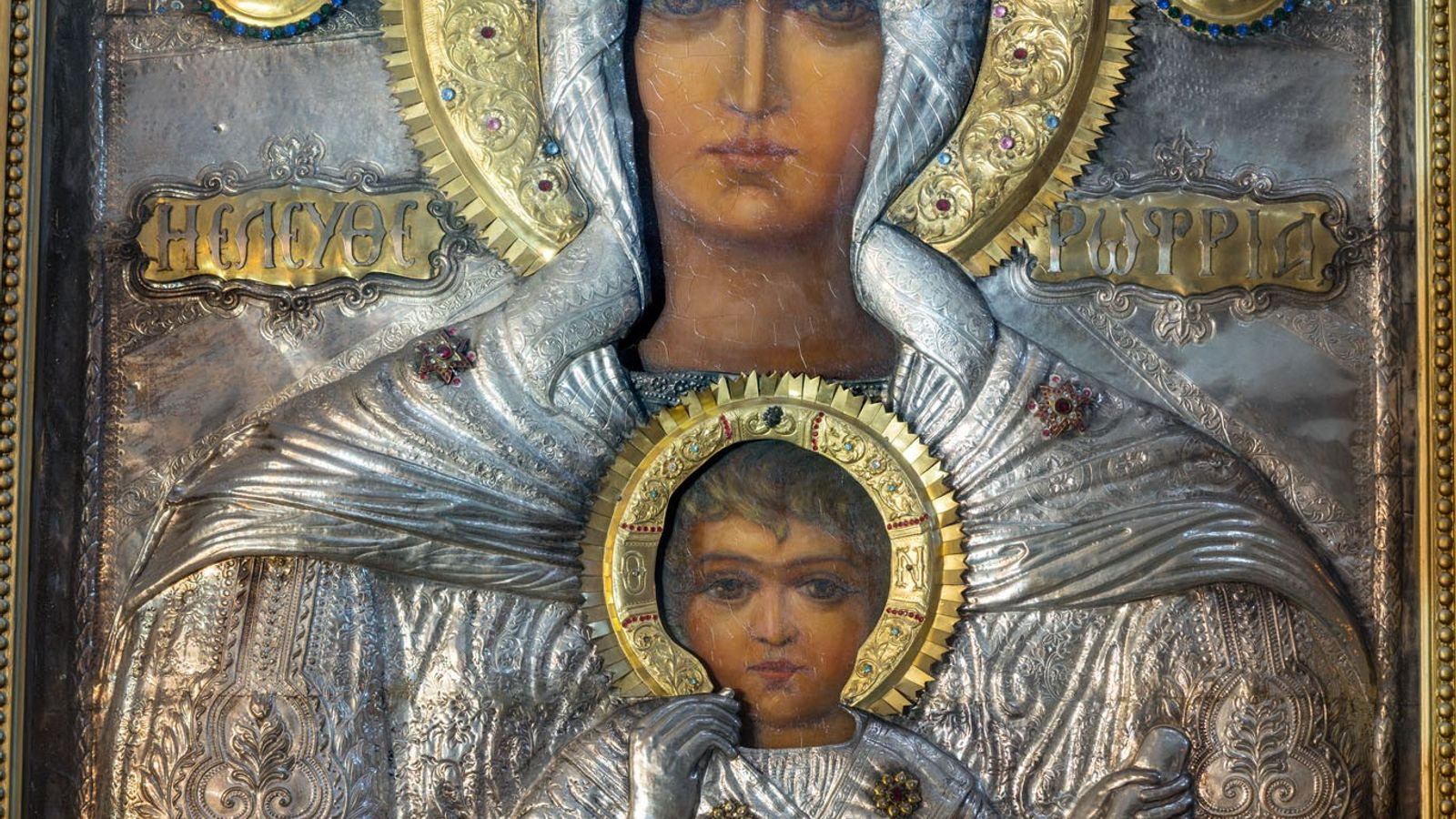 "This icon of the Madonna and Child, called ""Eleftherotria,"" or ""the Liberator,"" hangs in the Greek ..."
