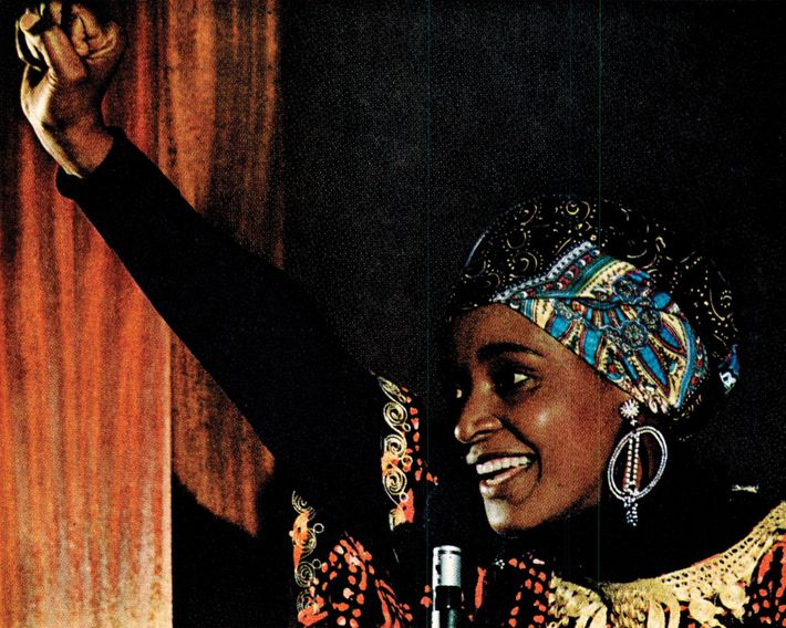 An article reporting on apartheid South Africa in 1977 shows Winnie Mandela, a founder of the ...