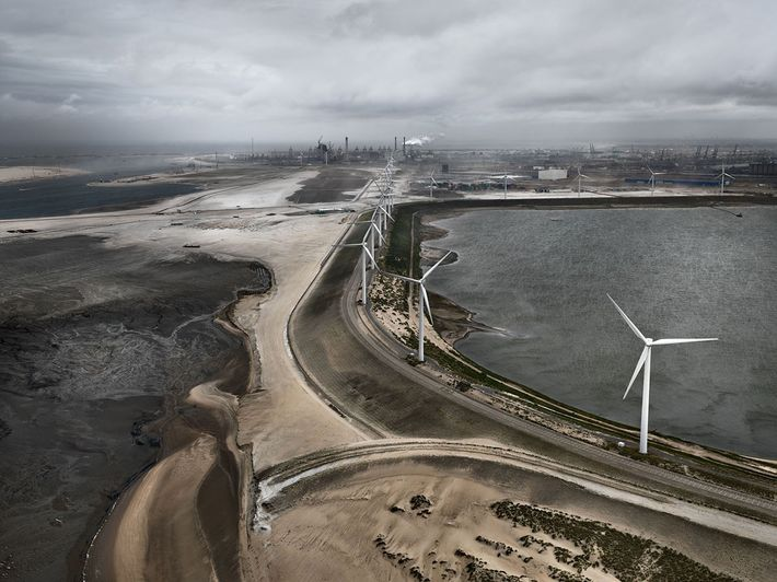 Flood Control Levee. Maasvlakte, Rotterdam, the Netherlands