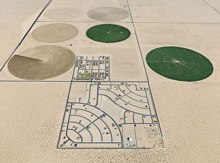 Pivot Irrigation/Suburb. South of Yuma, Arizona