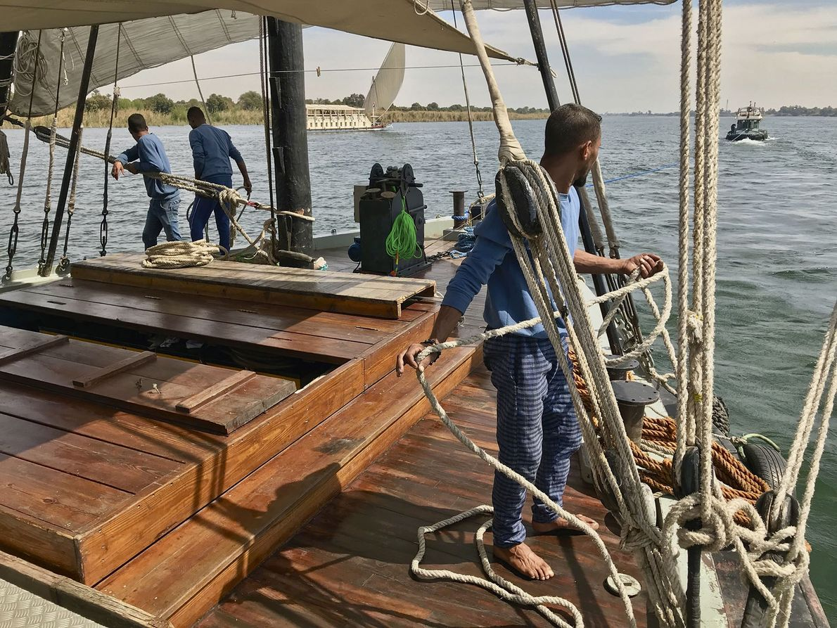 Crew aboard the dahabiya