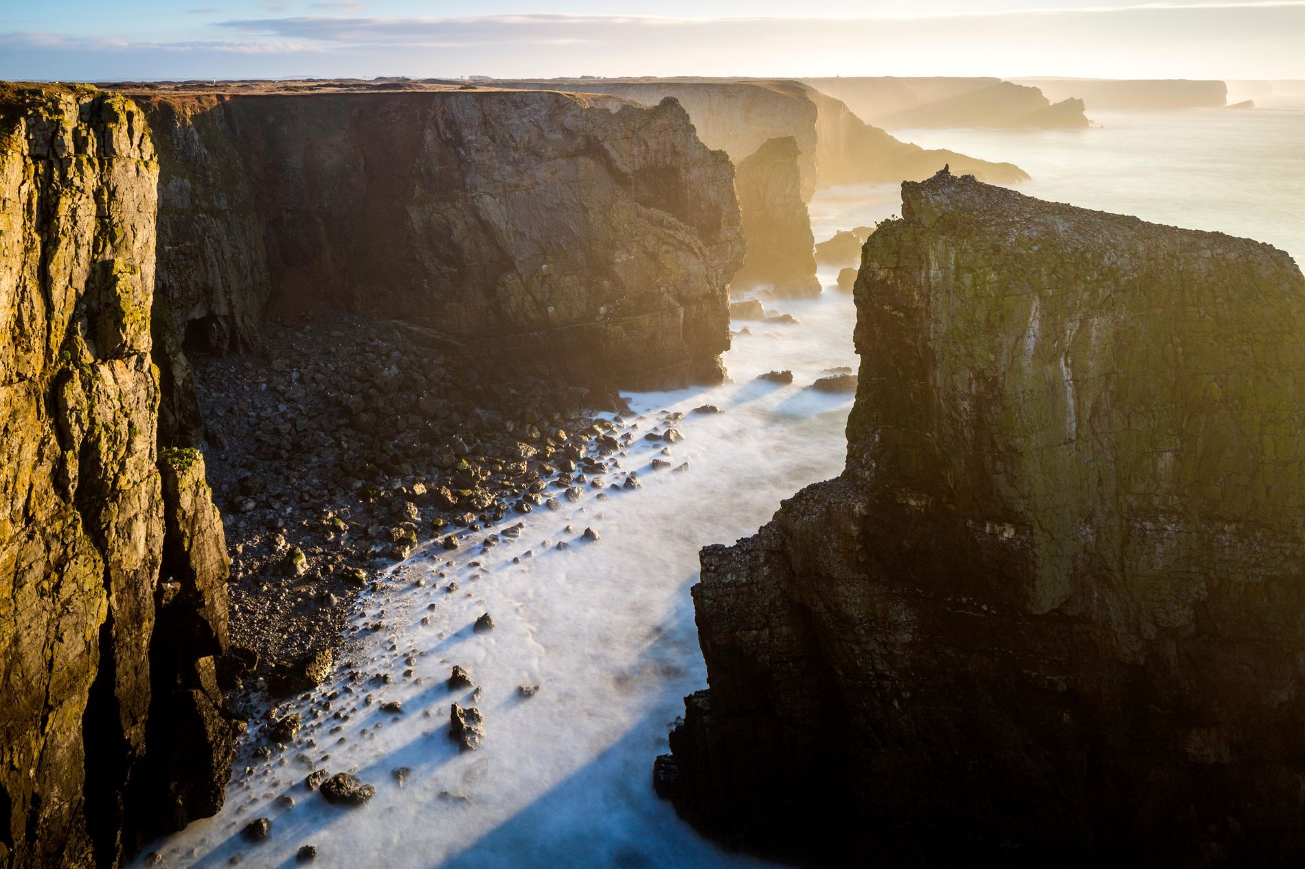 A view towards Elegug Stack, one of a series of rock pinnacles and natural arches on ...