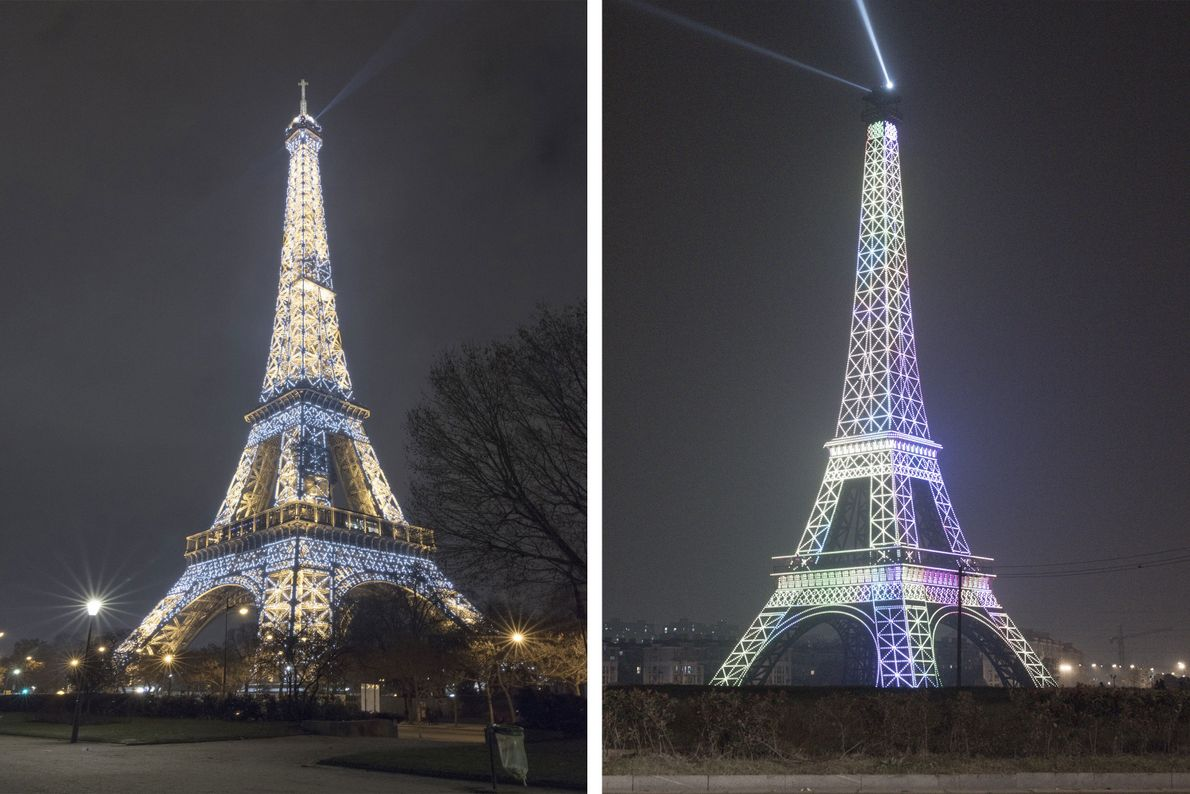 The world's second largest replica of the Eiffel Tower is in Tianducheng, China (right).