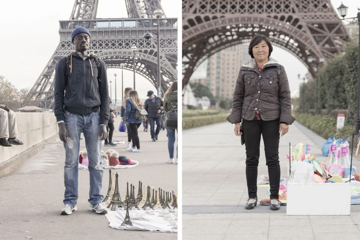 The Eiffel Tower (left) is one of Paris's most iconic sites. Tianducheng replica of the Eiffel ...