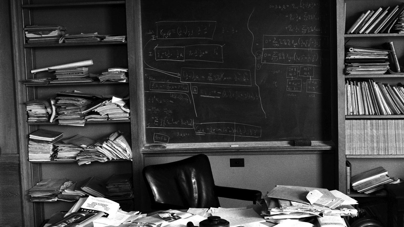Albert Einstein's office in Princeton, taken hours after Einstein's death and captured exactly as the Nobel ...