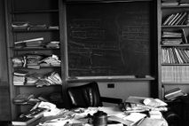 Albert Einstein's office in Princeton, taken hours after Einstein's death and captured exactly as the Nobel ...