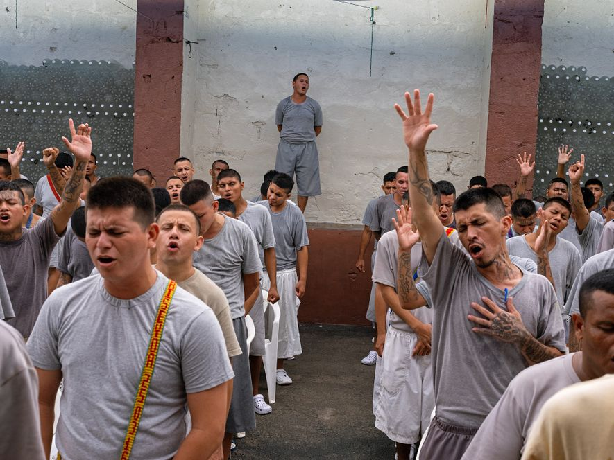 Others at Gotera who have renounced their gang ties pray together. Prison-based evangelical churches in El ...