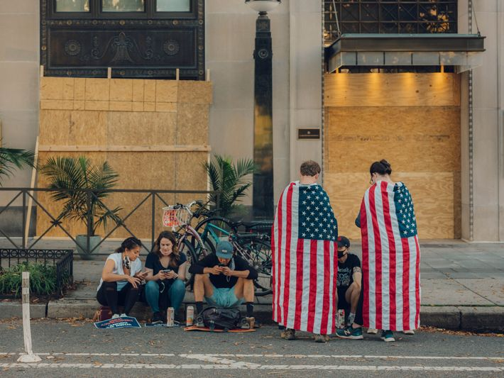 Four days after election day, Saturday revellers in Washington D.C.'s Black Lives Matter Plaza react to ...