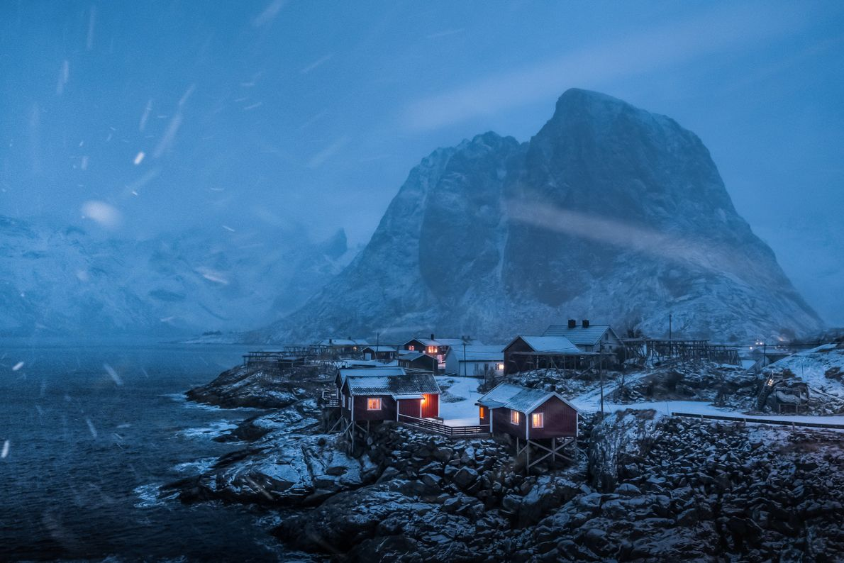 The Eliassen Rorbuer cabins during a snowstorm.