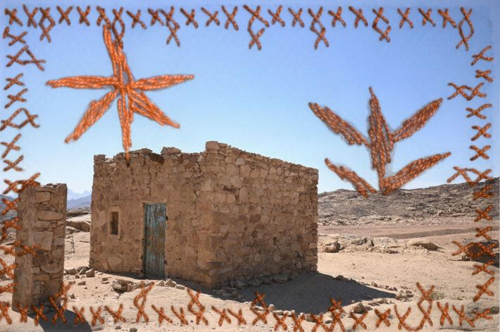 Yasmine Oum Mohamed used embroidery to enhance this photograph of a centuries-old traditional Bedouin house in ...