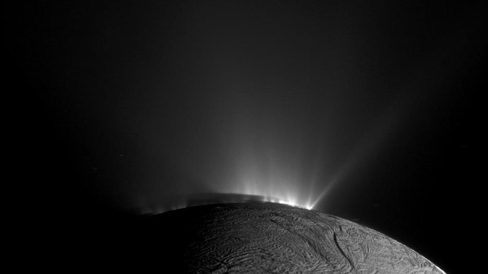 NASA's Cassini spacecraft caught this image of geysers spewing icy material from Saturn's moon Enceladus.
