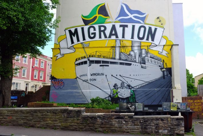 Muralising the Empire Windrush on a wall in Bristol. The ship has come to symbolise the ...