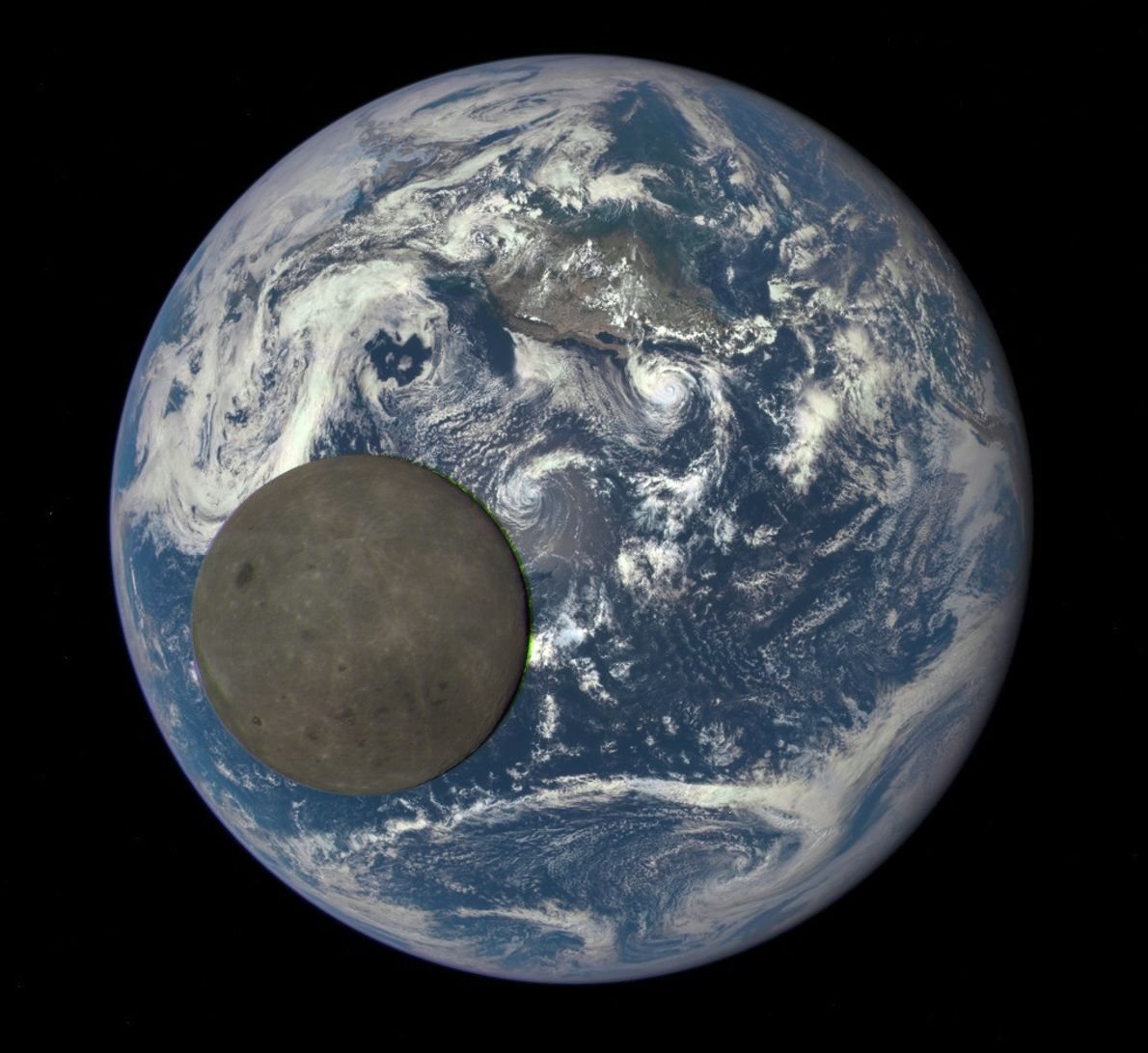The far side of the moon, never seen from Earth, passes between NOAA's DSCOVR satellite and ...