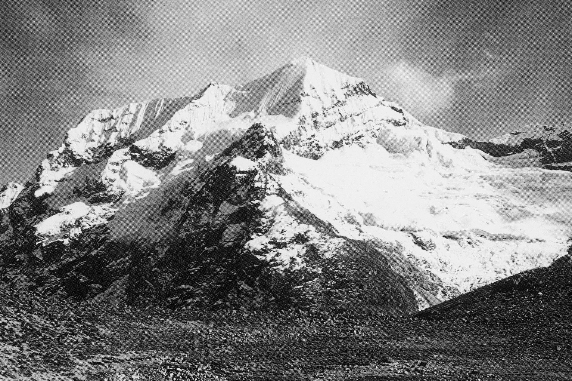 Snow and ice blanket Guardian Peak in January 1951.