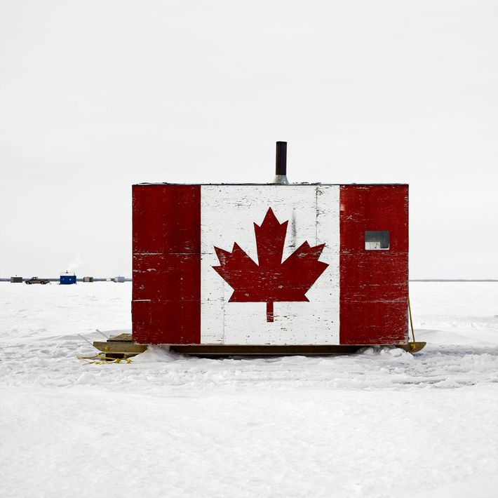 Canadian ice fishing shelters, from the series Ice Huts by Richard Johnson